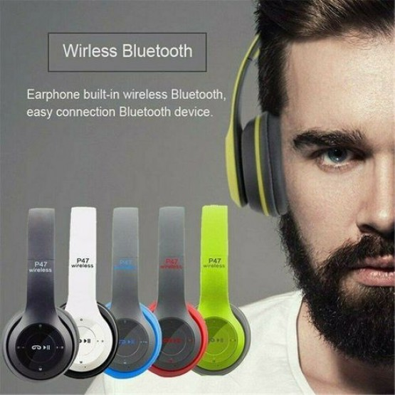 Wireless Headphones Over Ear Foldable Stereo Noise Cancelling Headset