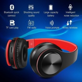 Bluetooth 5.0 Headphones, Over Ear Hi-Fi Stereo Wireless Headset, Built-in Mic Wired Mode for Travel, Work, Outdoor, Music Player, TV, Cell Phones, Tablets, Laptop, PC Computers