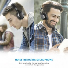 Bluetooth Headphones Over Ear, Soft Earmuffs, Built-in Microphone, Foldable Lightweight Wireless Headset with Hi-Fi Stereo, 3.5mm Audio Jack, for Mobile Phone, Tablet, TV, PC