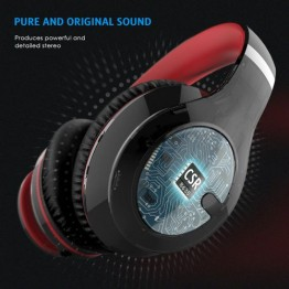 Bluetooth Headphones, Foldable Lightweight Over Ear Wireless Headsets with Hi-Fi Stereo, 3.5mm Audio Jack, Soft Earmuffs, Built-in Microphone, for Smartphones, Tablet, TV, PC - Red