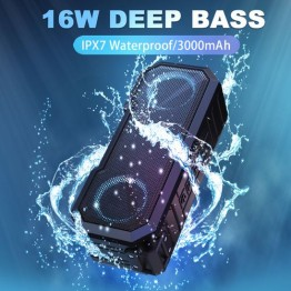Speakers, 16W Wireless Portable Speaker IPX7 Waterproof, Loud Stereo Rich Bass, TWS Pairing, 20 Hours Play Time, Bluetooth 5.0, 3000mAh Power Bank for Outdoors Camping,Travel