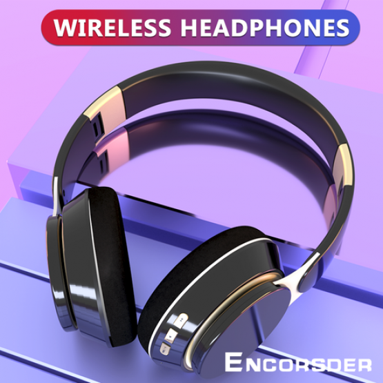 Wireless Headphones Stereo Bluetooth Headset Foldable Over-ear Heavy Bass Headphones with Mic for Phone Pc TV