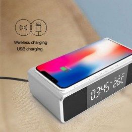 new LED electronic alarm clock is equipped with wireless mobile phone charger and Bluetooth dual speakers. The thermometer desktop high-definition mirror clock is compatible with IOS, Android and windows